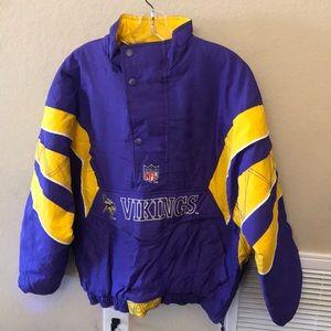 Men's Vikings Starter brand pullover puffer jacket